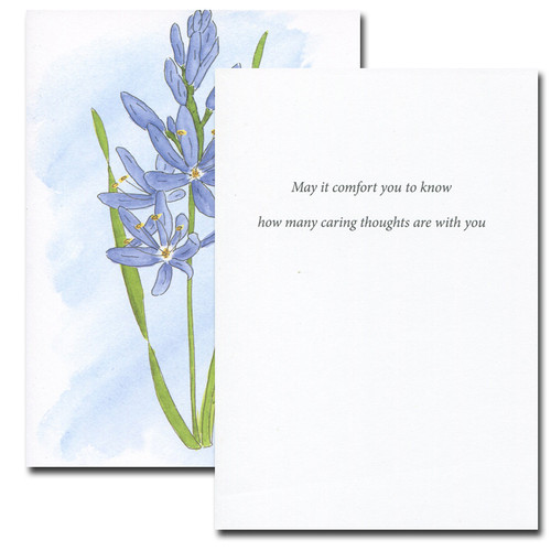 Inside of Wild Hyacinth Sympathy Card reads: May it comfort you to know how many caring thoughts are with you