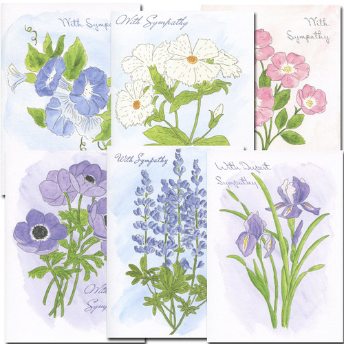 Assortment of blank sympathy note cards. Hand-painted watercolor floral designs