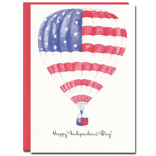 July 4th - Up and Away has a watercolor illustration of a hot air balloon and the greeting, Happy Independence day