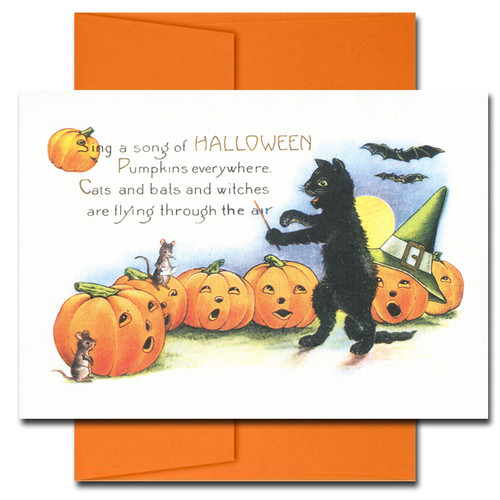 Cover of Halloween Song. Verse reads: Sing a song of Halloween. Pumpkins everywhere, Cats and bats and witches are flying through the air