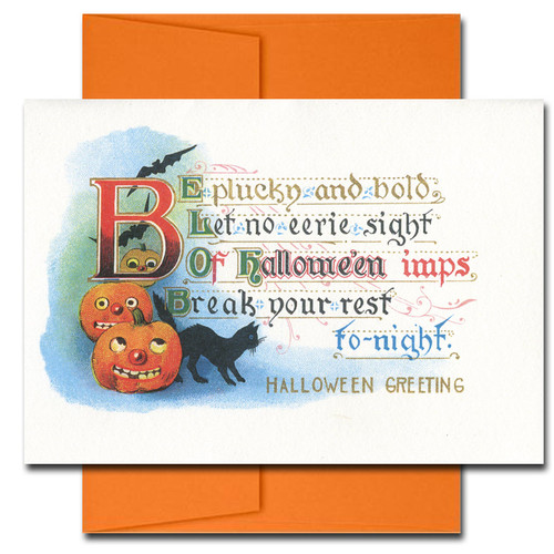 Cover of Halloween Pluck and Bold. Verse reads: Be pluck and bold, let no eerie sight of Halloween imps break your rest tonight.