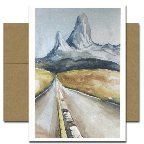 All Occasion Card: Mountains features a watercolor illustration of a highway leading to a distant mountain range