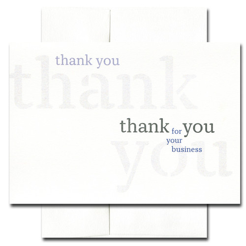 Triple Business Thank You Card. Cover reads: thank you thank you thank you for your business