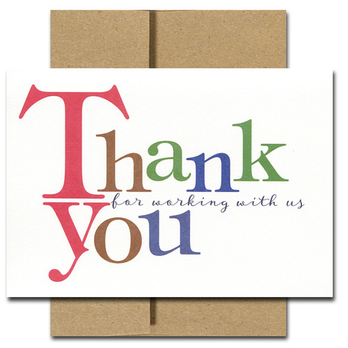 Business Appreciation Card - Bold Letters. Cover reads: Thank You for working with us