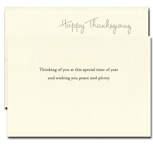 Hayfield Thanksgiving Card inside reads Thinking of you at this special time of year and wishing you peace and plenty