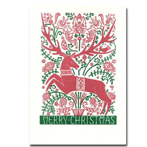 Folk Deer Letterpress Holiday card features a red and green print of a deer and the words Merry Christmas