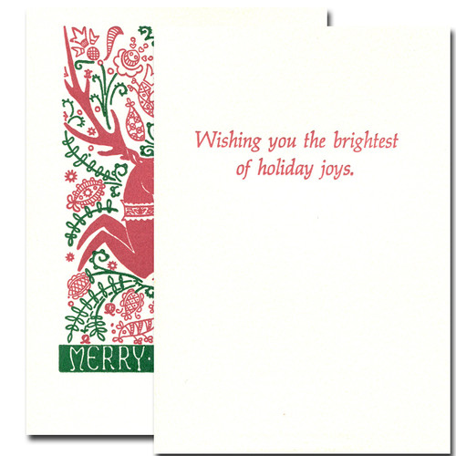 Folk Deer Holiday Card inside reads: Wishing you the brightest of holiday joys
