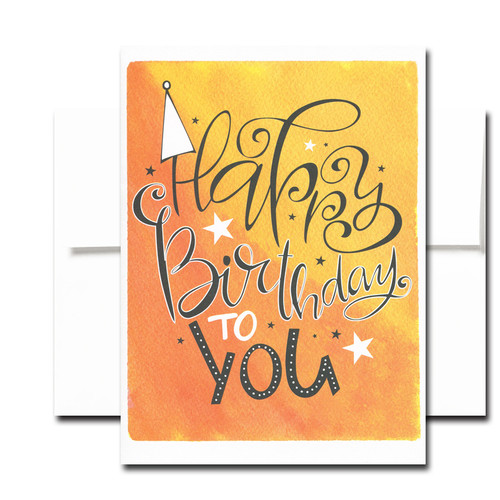 Boxed Birthday Card - Happy Hat has a hand-lettered design and the words Happy Birthday to You