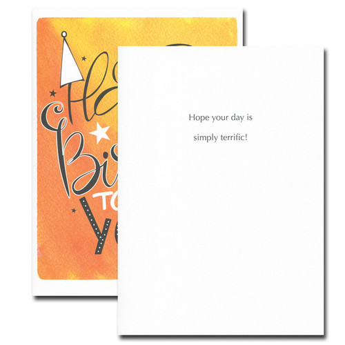 Boxed Birthday Card - Happy Hat inside reads: Hope your day is simply terrific!