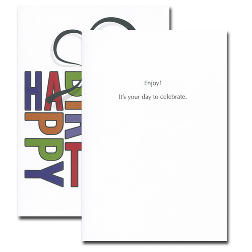 Boxed Birthday Card - Bold Letters inside reads: Enjoy! It's your day to celebrate.