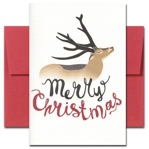 Happy Dear Christmas card shows a smiling deer with a red nose and the words Merry Christmas