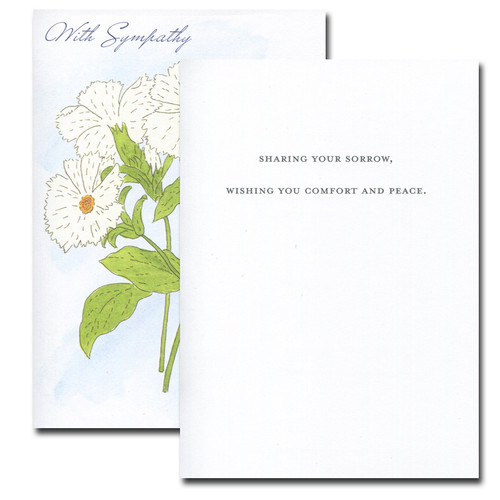 Sympathy Card: Campion inside reads: Sharing your sorrow, wishing you comfort and peace.