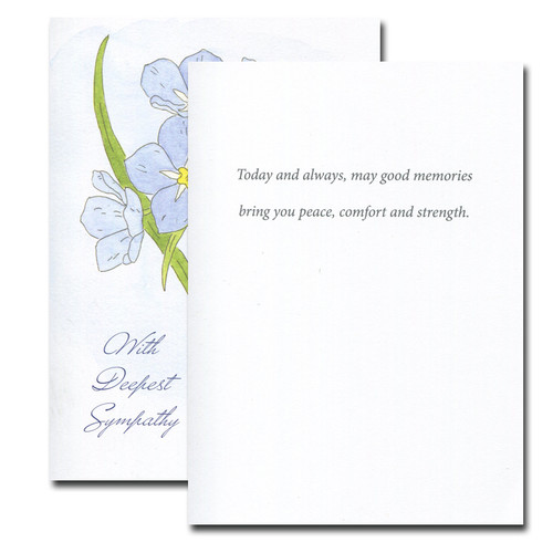 Inside of Forget-Me-Not Sympathy Card reads: Today and always, may good memories bring you peace, comfort and strength