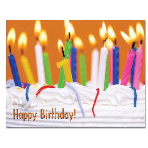"""Birthday postcard """"Festive Cake"""" with photo of different colored lighted birthday candles on cake with the words Happy Birthday in red letters in the lower left corner."""