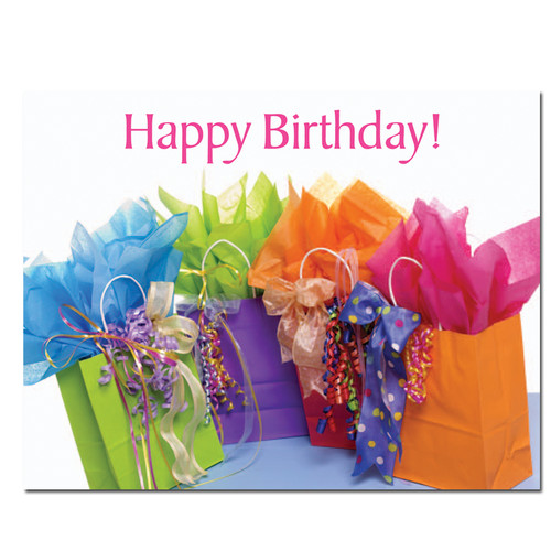 "Birthday postcard ""Gift Bags"" with a photo of 5 colored different gift bags with wrapping and gift items protruding and the words Happy Birthday! in red letters across the top"