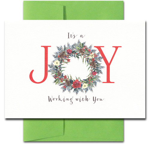 Joy Holiday Thank You Card features a hand-painted wreath and bright lettering. It reads: It's a joy working with you