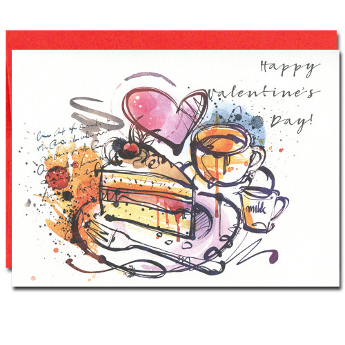 "Cake and Coffee Valentine Card has bright abstract cover and the words ""Happy Valentine's Day"""