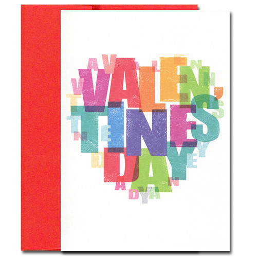 Big Heart Valentine's Card has Valentine's Day letters in the shape of a heart