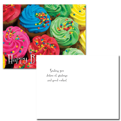 POSTCARDS: Birthday: Colorful Cupcakes - box of 50 postcards