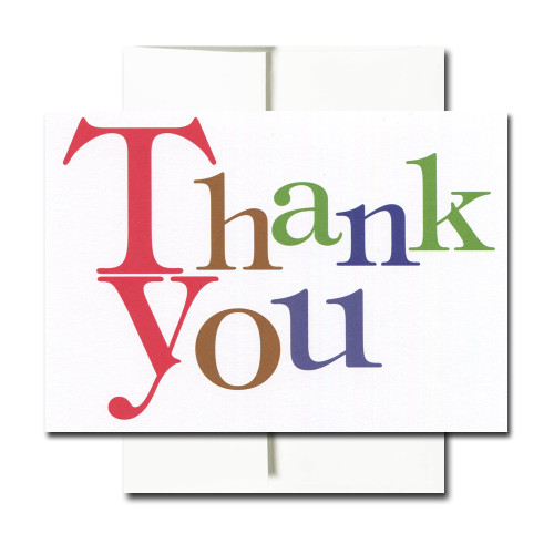 Thank You Note Card: Bold Letters