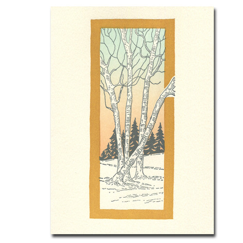 Saturn Press Solstice card features birch and pine trees in a winter landscape