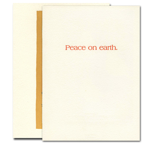 Inside of Saturn Press Solstice card reads, Peace on Earth