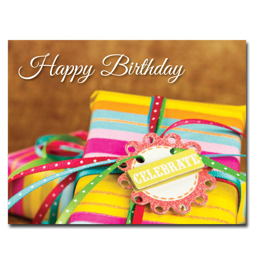 Celebration Gifts birthday postcard shows gifts wrapped with bright striped paper and a tag that reads Celebrate