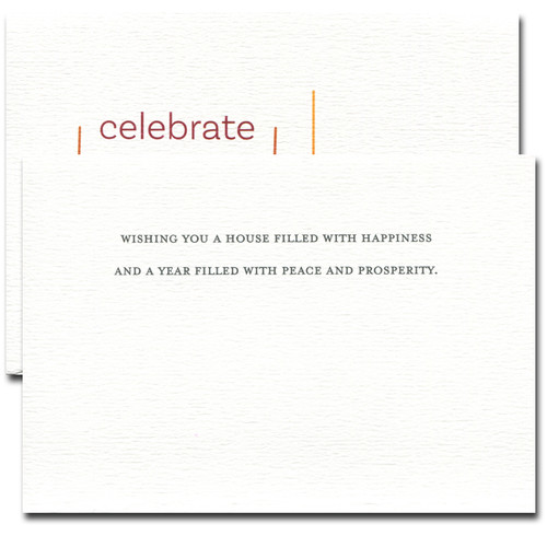 Inside of Celebrate Together reads: Wishing you a house filled with happiness and a year filled with peace and prosperity.