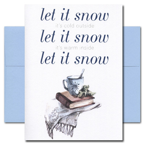 Cover of Let It Snow card reads: Let It Snow (it's cold outside) Let It Snow (it's warm inside) Let It Snow and has an illustration of a mug, books and a blanket