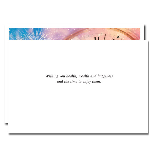 Inside of Minutes til Midnight card reads: Wishing you health, wealth and happiness and the time to enjoy them.