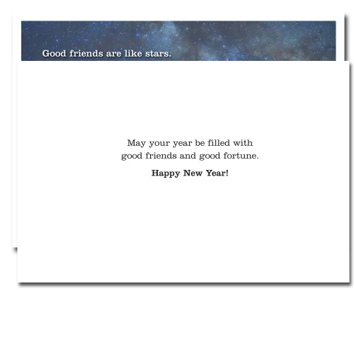 Inside card reads: May your year be filled with good friends and good fortune. Happy New Year!