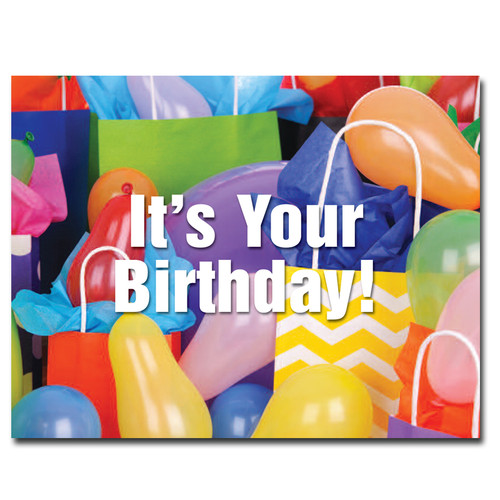 Shopping Spree Birthday Postcard features a collections of brightly colored shopping bags and balloons and the words, It's Your Birthday!