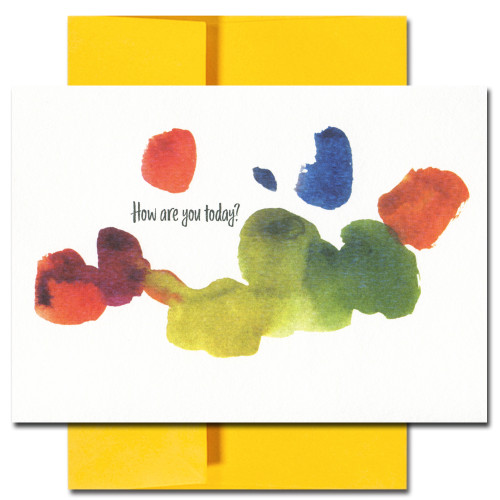 Thinking of you Card cover has an abstract watercolor design and the words: How Are You Today?