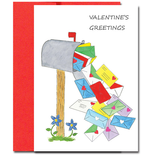 Special Delivery Valentine Card has multitude of Valentines spilling from a mailbox