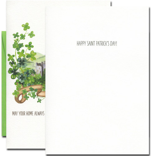 Inside of Saint Patrick's Day card reads: Happy Saint Patrick's Day