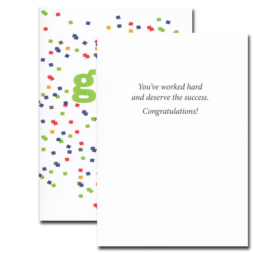Great Job Congratulations card inside reads: You've worked hard and deserve the success. Congratulations!