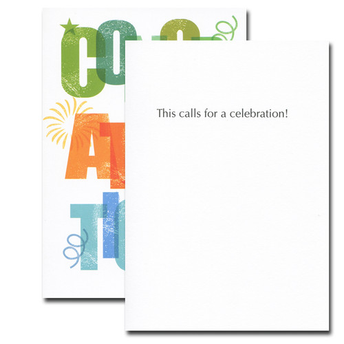Congratulations card inside reads: This calls for a celebration!