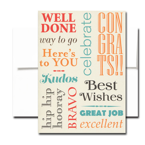 Well Done Congratulations Card cover reads: Well Done, Way to Go, Here's to You, Kudos, Hip Hip Hooray, Celebrate, Congrats, Bravo, Best Wishes, Great Job, Excellent
