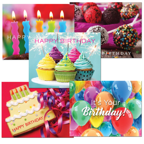 Birthday Postcard Assortment II  - five different designs in bright colors