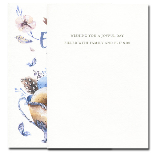Easter Eggs card inside reads: Wishing you a joyful day filled with family and friends