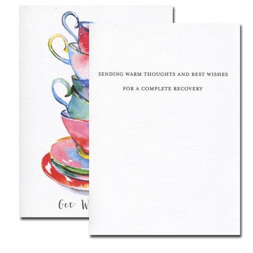 Get Well Teacups  inside reads: Sending warm thoughts and best wishes for a complete recovery