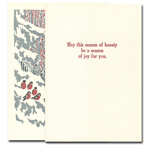 Evensong letterpress holiday card inside reads: May this season of beauty be a season of joy for you