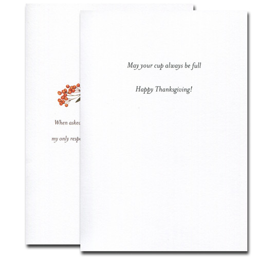 Cup Thanksgiving card inside reads: May your cup always be full. Happy Thanksgiving!