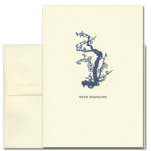 "Sympathy Card Old Blossoms on the cover has a vintage illustration of an old branch with blossoms above the words ""With Sympathy"""