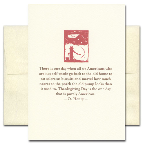 Thanksgiving card with quote from O. Henry ending with: Thanksgiving is the one day that is purely American
