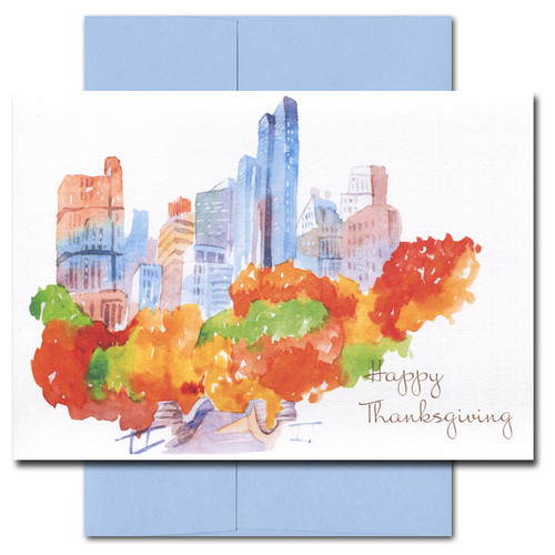 City Splendor Thanksgiving card features a watercolor illustration of a city skyscrapers and a park with colorful fall foliage