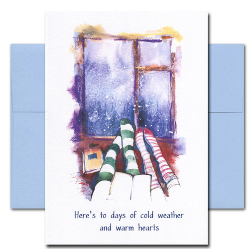 Warm Hearts holiday card has watercolor illustration of two people in stocking feet indoors on a winter day and the words: Here's to days of cold weather and warm hearts