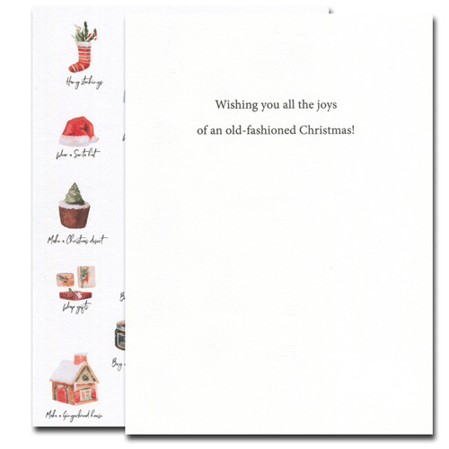 Christmas List holiday card inside reads: Wishing you all the joys of an old-fashioned Christmas