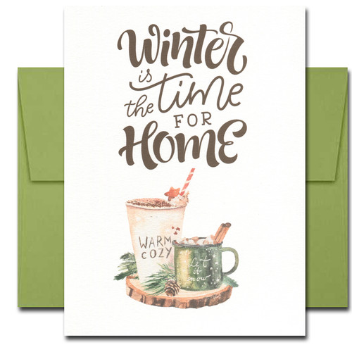 Time for Home holiday card has a watercolor illustration and a hand-lettered title that reads: Winter is the time for home