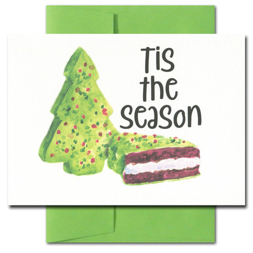 Christmas Cake holiday card has an illustration of a Christmas tree cake and the words: Tis the season